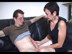 Mum Marie makes his big rod cum
