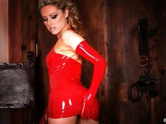 Pretty Sarah Peachez looks breathtaking in red latex