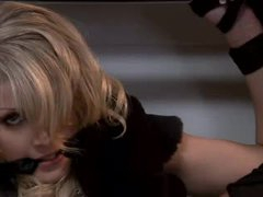 Beautiful blonde fastened in his closet and fucked