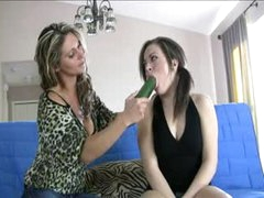 Pleasing young cutie learns how to blow from a milf