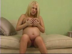 Pregnant girl plays with biggest melons