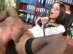 Hawt lips secretary bitch drilled in his office