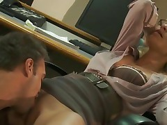 Naughty Jessica Drake is licked out in her office
