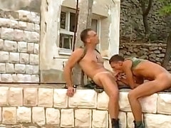 2 sexy and sweet army dudes are pounding and drilling each other