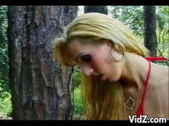 Sexy lady-man slut copulates guy in the woods
