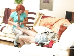 Hannah&Clara nylon footfuck movie scene