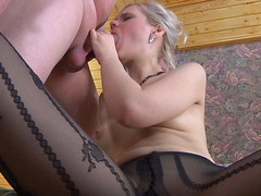 Glamour gal in patterned pantyhose receives widen on a couch for mighty dicking