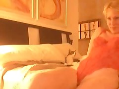 Golden-haired gets lustful after virtual sex and begins self-pleasuring. She masturbates, stroking her love button and feels forthcoming orgasm. Suddenly this babe notices that this babe forgot to turn off web-camera, but now that can't stop her.