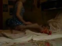 Erotic dark brown GF with lengthy hair and a banging body likes to please. That babe stands up above her man and strokes her pussy before coming back down and eating his obscene wet dick.