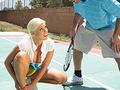 Britney can't live without a little healthy competition. Britney likewise has a healthy set of jumbo knockers. When Charles meets up with her for a match, Britney is in way over her head. Not merely is this chab a more fantastic tennis player, but this babe risks being flopped out of the league entirely. As a last minute ploy, Britney uses her wits and her meatballs in order to win the match!