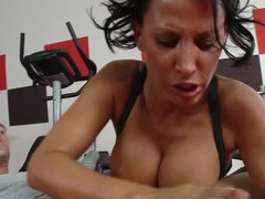 Lezley Zen's working as a personal tutor and this babe's got a recent client, but this hottie doesn't know which of the 2 studs it is in the gym. Johnny Sins tricks the other man into leaving the gym so this chab's alone for some one on one time with Lezley. First Lezley shows him some proper ways to toning some muscles, then later Johnny shows Lezley some sexy work outs that gets her sweating!