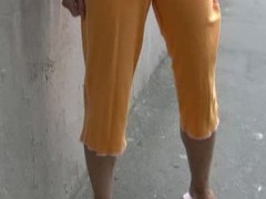 Hotty wets her sporty orange breeches