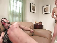 Gwen Diamond likes dong and domination, this honey tied this chap on the couch with his legs widen and this honey ball gagged his mouth so that chap won't screech while this honey grabs his balls hard and sucks his dick after a fine hard whipping. Stuffing her mouth with dong is even greater amount pleasant for her as lengthy as this honey squeezes those balls.