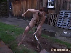 The worthless slut Maggie digs a gap to stay in it. That babe has a beautiful face gap and a hawt body but this babe is ribald and her pretty lips spread by a thraldom device. After Maggie finishes digging this babe needs to engulf the end of the shovel and then receive her hairless love tunnel filled with it. That's right Maggie, u know you're place