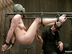 Star heard about s&m but that babe never thought that things could receive so coarse in a session of servitude sadistic masochism. That babe was tied on that metal frame, a rubber balloon was used to cover her head and suffocate her and then clamps were used to gape her pussy. That was only the warm up, stick around and see greater amount
