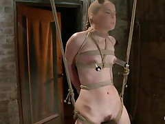 AnnaBelle Lee is all bound up in the dungeon, straddling what looks like a type of sawhors e. Her wench goddess puts a nylon stocking over her head and then attaches 2 suckers to her nipples. After a brief pont of time of pleasure from a vibrator, the wench goddess receives a whip and starts lashing her legs.