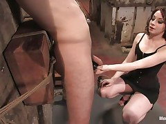 Hawt dude Wolf has his hands tied up by a very hot femdom-goddess called Amber. This babe enjoys attaching weights to his nipples and hairless balls. Then, this chab gets his constricted ass whipped for being such a bad boy. What punishments do u think she has prepared next for him?