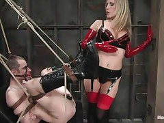 See this super hawt golden-haired mama teaching this bad boy a lesson in hard way. This chick tied him up and gagged his face hole previous to fucking his world upside down! This chick puts on a belt on and fucks him real hard. This chick also locked his cock so that he can't cum! This chick keeps teasing his cock and fucking his wazoo with pleasure!