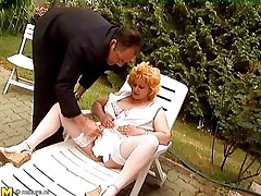 Watch this horny old lady getting insane and some old dudes playing along with her. One of the man bald her mature bawdy cleft and then the other one comes in to assist her out. This guy fingers her bawdy cleft and love button glamorous well. Then he takes out his dick to get a precious blowjob from this mature bbw whore!
