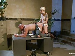 Chad Rock thinks he'll impress mastix Lorelei Lee with his business suit. She's unimpressed. This babe copulates him from behind on the desk with her black strap-on then flips him over on his back and pounds his booty harder. This babe strokes the wench boy's cock and allows him to squirt his semen all over himself.