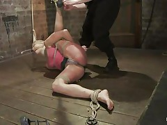 Amber never felt so abused in her life! That sweetheart is fastened with one leg up, blindfolded and mouth gagged. That sweetheart get's what that sweetheart deserves, an humiliating treatment that involves a lot of spanking. Look how her shoe is removed and her foot is spanked and then her thigh too. Does that sweetheart enjoys the pain, should that sweetheart receive some more?
