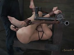 Kelly Divine is tied up with her arse up like a whore. The executor is desirous to stick his dick in her but 1st that guy craves to be sure that Kelly is all moist and ready for cock. That guy fingers her so mean that that babe makes herself soaking moist and then that guy starts drilling her. Do you think that guy will cum in her pussy?