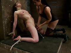 This is hawt and only gets better, a dominating milf wearing nylons and sexy clothing is showing a younger gal who's the boss. That babe ties her with rope and as the rope goes throughout those her bawdy cleft lips, a weight at the end of the rope makes things greater amount interesting. The sweetheart is suffocated too and probably she enjoys it a lot!