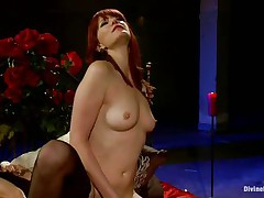 Her lengthy red hair, hot legs and nice-looking face makes this chap wanna obey to her devilish wishes so this chap licks her wet crack like a good submissive boy and then bows over with submission to take it unfathomable in his ass. This babe drills his gap with her strap on dildo and makes him moan, what else this mistress has prepared for him?