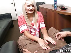 Look at this excited golden-haired babe begging for that studs cock. Watch her taking her garments down and playing with her hot billibongs during the time that her wicked ass supplicates for a spank. Watch how much she enjoys having a big hard cock between her hands and how much she loves to rub it with oil. Will he cum on her big tits?