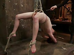 Wee all have a enjoyment seeing a cute bitch getting what she merits but this one gets a harsh treatment, her hawt oiled body is tied up and she's hanging during the time that her executor uses a fake penis on her enjoyable cunt, fingering her snatch in the mean time. Her hawt milk shakes have suckers on them and her legs are spread granting full access to her cunt. What will happen to her next? Wish to see?