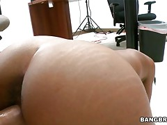 Sexy ebony chick is riding a guy's dick, then acquires permeated and fucked from behind. That babe acquires on the table and acquires rammed in missionary position, then she acquires on her knees, where she licks and sucks the guy's balls. That babe acquires his hawt cum on her face.