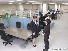 Now that is not a way to treat your work place! The lascivious Japanese employee goes on the desk and urinates on it. This babe is a bit shy and worried about what her colleagues will think, luckily this one supports her and even greater amount then that, this chab gives the doxy his knob for a rub and much more. Wonder what that babe will do next?