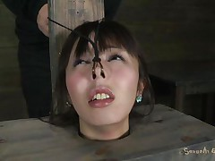 Fucking wench Marica with charming face is all tied up in a box and has a vibrator on her tight pussy. She moans with pleasure, pleasing her horny slaver Matt who makes her face aperture suck his large hard cock. That fellow sticks it in her immodest face aperture and stays there, making her cunt so wet and wishing for more!