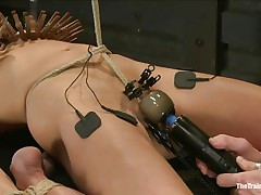 The man is showing his skills in domination and punishment. This guy putted laundry pliers on this slut's melons and then suckers on her nipples before rubbing her love button with a vibrator. After rubbing that fur pie worthwhile and wonderful this guy hangs her and probably has something very particular for her ass, would you like to watch that?