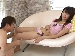 Hirsute snatch Asian rides large weenie and copulates doggystyle
