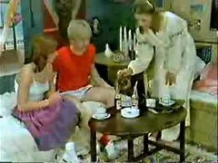 Brother&,#039,s friend and girlfriend playing to the doctor when mommy  comes-Retro