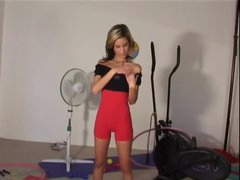 Constricted workout clothing on slim stripping playgirl