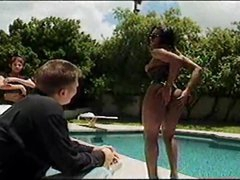 Black sheboy eats big jock poolside