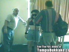 Blindfolded Floozy Gets A Tampa Bukkake Motel Banging!