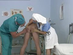 Breasty Blonde Nurse Kathy Sweet Gets Facialized In a Bisexual 3some