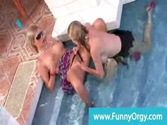 Upperclass lesbo orgy with rich cuties at the indoor pool