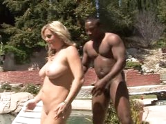 This guy bends over white milf by the pool