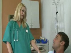 Tatooed blonde penetrated by the doctor