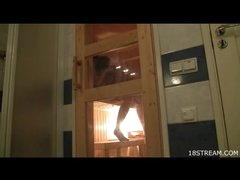 Legal age teenager fucking in the sauna