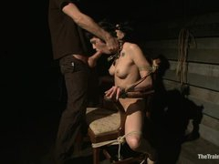 Bound bitch Asphyxia gets her mouth stuffed with ramrod