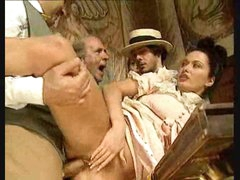 Guys watch gal in vintage costume take large cocks