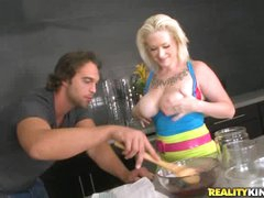 Busty blond Alyssa cooks up something kinky