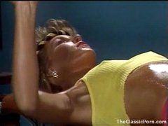 Fucking an 80s gym angel in retro movie scene
