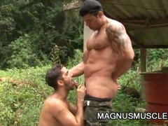 Lustful military muscled homo dudes doing some intensive training