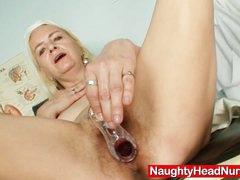 Slim granny Vera got hirsute pussy